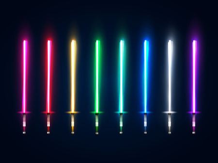 Neon light swords set. Colorful glowing sabers collection isolated on dark blue background. Luminous weapon elements for game design. Futuristic vector illustration. EPS 10 Vettoriali