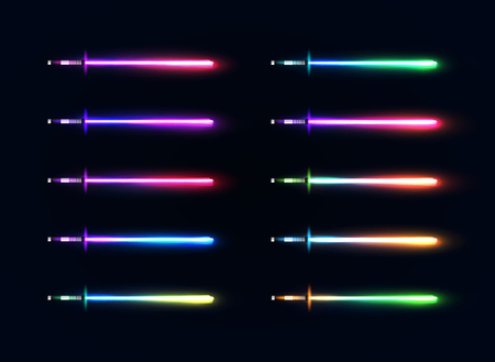 Colorful glowing sabers collection isolated on dark blue background, Luminous weapon elements for game design, Futuristic vector illustration. Illustration