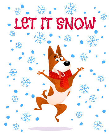 Let it snow text with Funny cartoon jumping dog in red scarf, Winter flat joyful character design of Puppy Terrier isolated on white background with snowflakes, Christmas or New Year 2018 vector illustration.