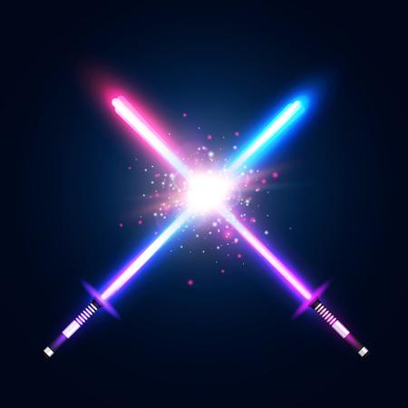 Walczą dwa skrzyżowane miecze świetlne neonowe. Niebiesko-fioletowe krzyżujące się miecze laserowe wojny. Ikona klubu lub godło. Świecące promienie w przestrzeni. Walcz z elementami za pomocą gwiazdy, błysku i cząstek.