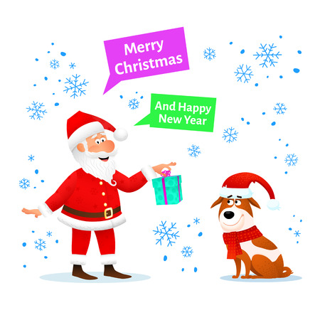 Merry Christmas card. Funny Santa Claus with Xmas gift and dog in red hat on Christmas background with snowflakes. Holiday banner or poster. New Year decoration design. Cartoon vector illustration.