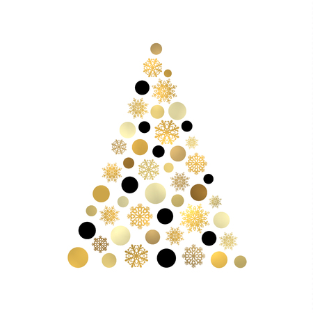 Stylized Christmas tree isolated on white pattern with gold and black circles and snowflakes. Vettoriali