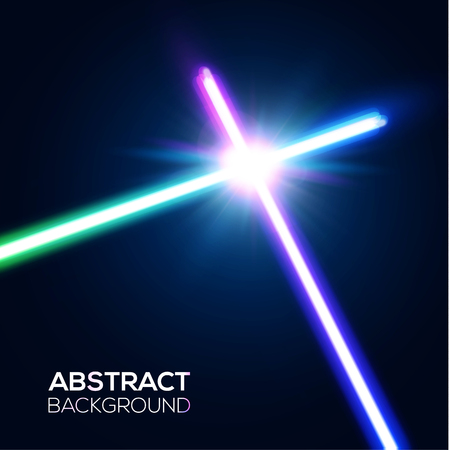 Abstract background with two crossed light neon swords fight. Crossing laser sabers war. Club emblem. Glowing rays in space. Battle with star, flash and particles. Colorful vector illustration Vettoriali