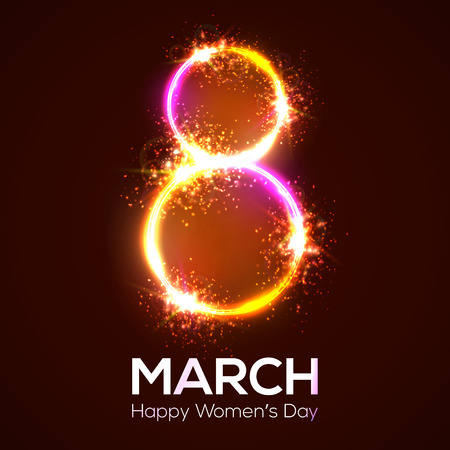 Happy womens day. 8 march in neon circles with glow and firework. Bright 3d banner on dark red backdrop. Greeting card for International womens day design. Neon vector illustration with flash light. Vettoriali