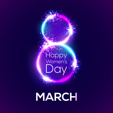 Happy womens day. 8th of March in neon circles with glow and firework. Greeting card for International women's day design. Bright 3d banner on dark blue backdrop. Neon vector illustration with flash light. Vectores