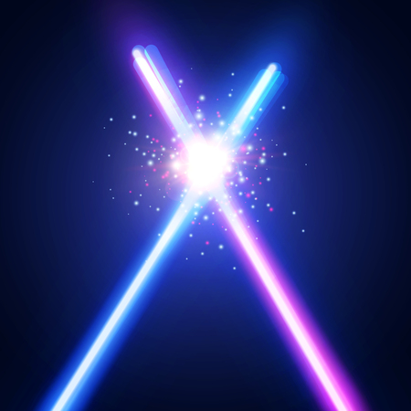 Sfondo astratto con due spade incrociate luce neon combattono. Raggi luminosi nello spazio. Attraversando la guerra di sciabole laser. Logo o emblema del club. Combatti con stelle, flash e particelle. Illustrazione vettoriale colorato
