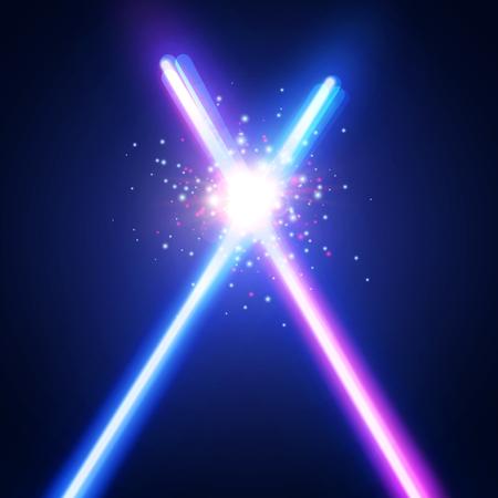 Abstrait avec deux épées de néon lumière croisées se battre. Rayons rougeoyants dans l'espace. Traversant la guerre des sabres laser. Logo ou emblème du club. Bataille avec star, flash et particules. Illustration vectorielle coloré Logo