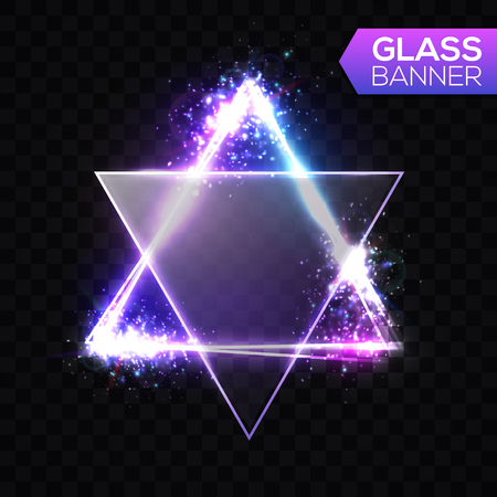 David star. Neon sign. Triangle background with textured transparent glass plate. Glowing electric abstract frame on transparent backdrop with light, glow, flares, firework. Bright vector illustration