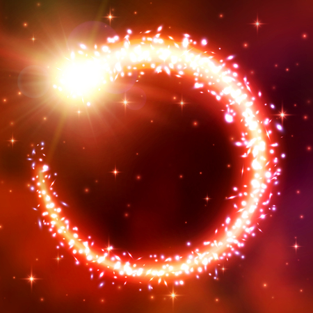 Comet fly in a circle. Lens flare effect, bokeh and glare. A chaotic vortex of brilliant particles. Flash of light, galactic nebula, flickering stars. Magic round light frame. Neon vector illustration.