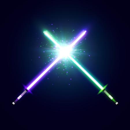보라색과 녹색 교차 떨고 블레이드 싸움 네온 칼을 건넜다. 레이저 보안관. 공간에서 빛나는 광선. 별, 플래시 및 입자가있는 전투 요소. 다채로운 벡터 일러스트