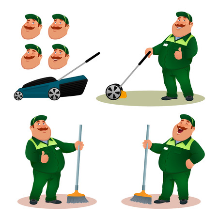 Funny cartoon janitor set with emotions. Illustration