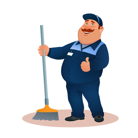 Funny cartoon janitor with mop and ok gesture. Smiling fat character in blue suit with broom. Happy flat cleaner in uniform from janitorial service or office cleaning. Colorful vector illustration. Illustration