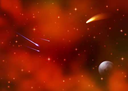 Cosmic red galaxy background. Colorful nebula, milky way and bright shining stars. Outer space with falling stars comet Earth planet starburst asteroid and meteor. Sky vector illustration of Universe. Illustration