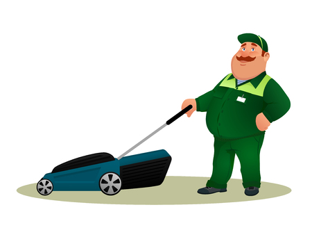 Funny cartoon farmer with lawn mower. Smiling fat character gardener man in green suit cutting grass isolated on white background. Happy flat worker from lawn care service Colorful vector illustration