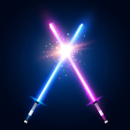 Purple and blue crossed light neon swords with trembling blades fight. Laser sabers war glowing rays in space. Battle elements with star, flash and particles colorful vector illustration.