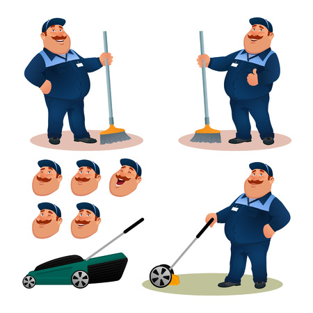 Funny cartoon janitor set with emotions. Smiling fat character gardener in blue suit sweeping floor with broom. Happy flat cleaner with lawn mower and face expressions colorful vector illustration. Vettoriali