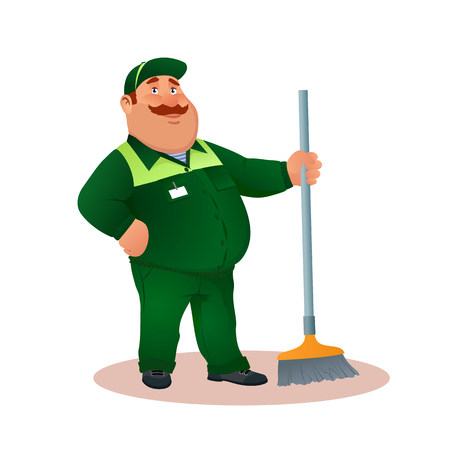 Smiling cartoon janitor with mop. Funny fat character in green suit with broom. Happy flat cleaner in uniform from janitorial service or office cleaning. Colorful vector illustration. Vettoriali