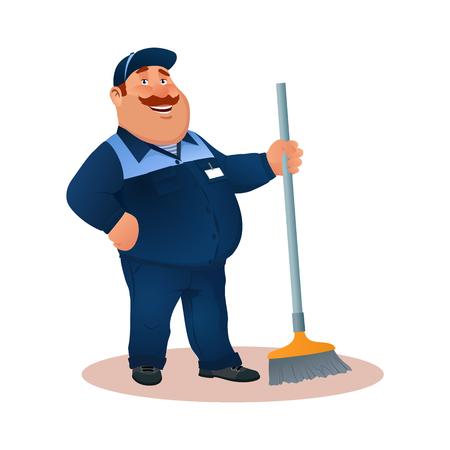Sonriendo conserje de dibujos animados con un trapeador. Divertido personaje gordo en traje azul con escoba.