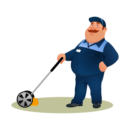 Funny cartoon farmer with lawn mower. Smiling fat character gardener man in blue suit cutting grass isolated on white background. Happy flat worker from lawn care service Colorful vector illustration Illustration