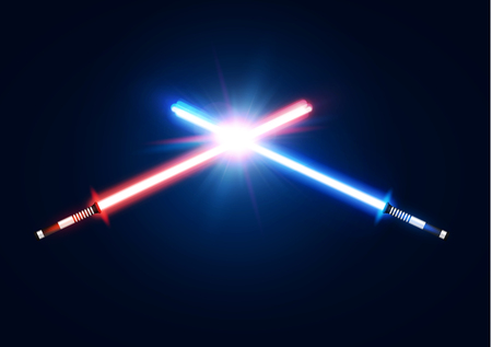 Red and blue crossed light neon swords with trembling blade fight. Laser sabers war design. Sci-fi style. Glowing rays in space. Battle elements with star, flash particles. Colorful vector illustratio