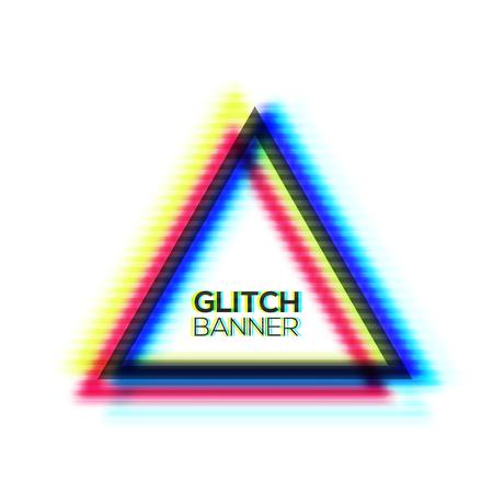 Art de style minimal. Conception de cadre de triangle de texture de glitch. Fond moderne déformé avec effet glitch. Concept de signe glitched avec canal de couleurs RVB CMJN. Erreur écran tv. Illustration vectorielle de couleur.