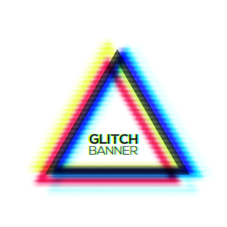 Minimal style art. Glitch texture triangle frame design. Distorted modern background with glitch effect. Glitched sign concept with rgb cmyk colors channel. Error tv screen. Color vector illustration. Illustration