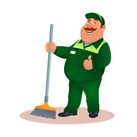 Happy flat cleaner in uniform from janitorial service or office cleaning. Funny cartoon janitor with mop and ok gesture. Smiling fat character in green suit with broom. Colorful vector illustration.