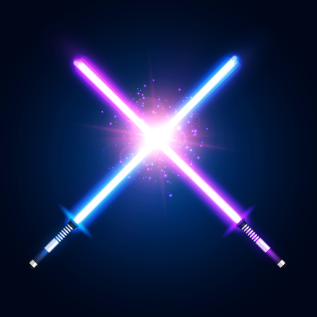 Purple violet and blue crossed light neon swords with trembling blades fight. Laser sabers war on dark blue background. Glowing rays in space. Battle elements with star. Colorful vector illustration. 일러스트