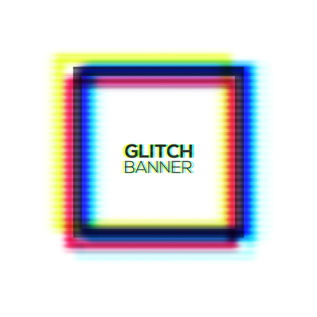Abstract glitch texture square frame. Geometric style art. Distorted modern rectangle background with glitch effect. Broken glitched sign concept of rgb cmyk colors channel. Color vector illustration.