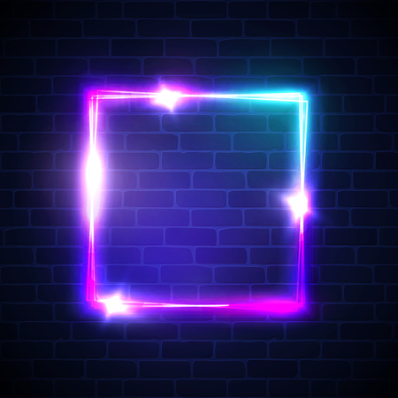 Neon background. Square frame with glowing and light. Electric bright 3d rectangle banner design on brick wall background. Abstract sign with neon colors, flares, sparkles. Vintage vector illustration