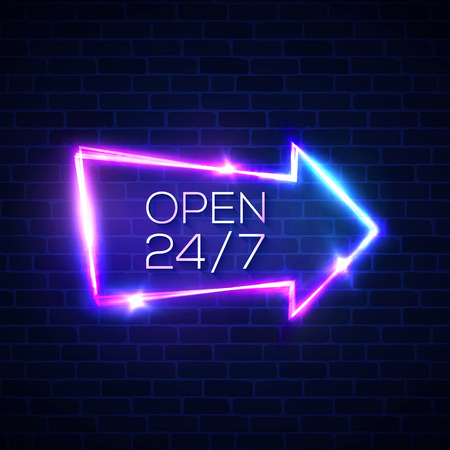 Open 24 7 hours neon light sign on brick wall background. 24 hours night club bar electric street signage. 3d retro arrow pointer with neon effect. Brick texture vector illustration in 80s style.