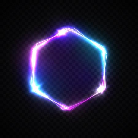 Sfondo esagonale con luci al neon su sfondo trasparente. Design del logo esagonale brillante con flash di luce e scintillii. Illustrazione vettoriale a colori in stile neon. Logo