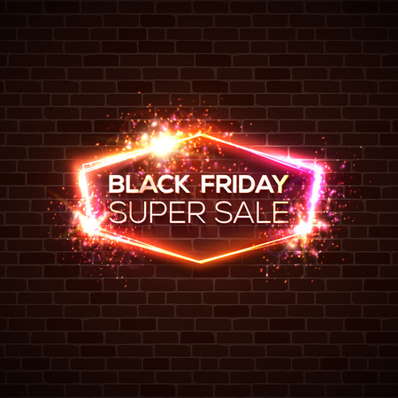 Black Friday super sale background. Festive discount card on dark red brick wall. Neon lights sale banner with sparkle bokeh firework. Electric street sign with explosion. Colorful vector illustration