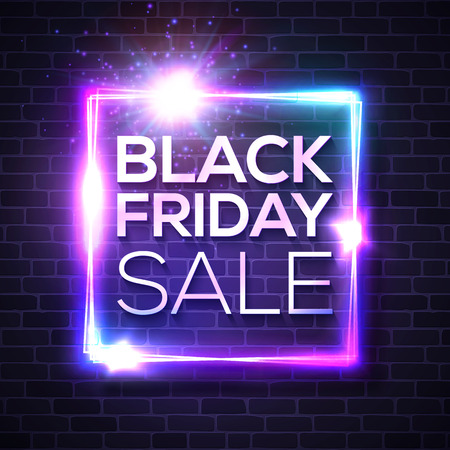 Black Friday Sale neon sign. Square light banner on blue night brick wall background. Discount card. Glowing vector bright signboard. Colorful illustration.