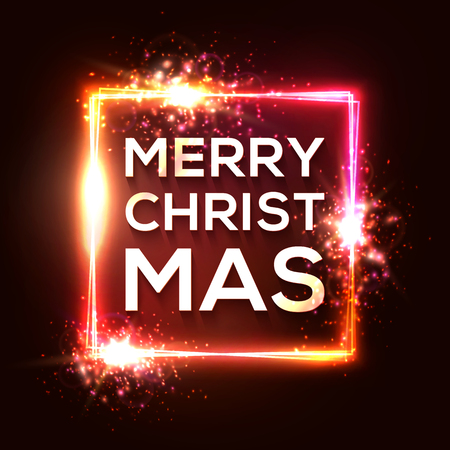 Christmas background. Square neon lights frame. Glowing border with sparkle flash glitter particles and explosion. Celebrating Xmas text with shining effect on red backdrop. Color vector illustration. Ilustrace