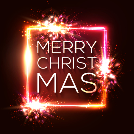 Christmas lights background. Square neon frame. Glowing decoration border with sparkle flash particles explosion. Celebrating Xmas text with glitch effect on red backdrop. Color vector illustration. Ilustrace