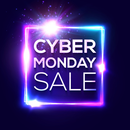 Cyber Monday text inscription in neon style on dark blue background. Square background with abstract lights and sparkles. Discount card for internet online shopping. Colorful sale vector illustration. Ilustrace