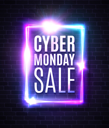 Cyber Monday sale banner in neon laser rectangle background. Shining square sign on dark blue brick texture wall with explosion firework. Discount card design template. Light vector illustration.
