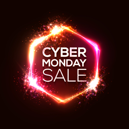 Neon sign of Cyber Monday text for decoration and covering on red wall background. Discount card concept of sale event. Realistic vector illustration with light explosion star firework bokeh elements. Ilustrace