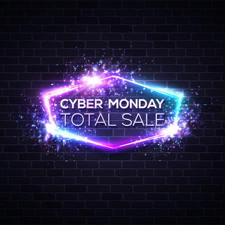Cyber Monday concept banner in neon style, Illuminated glowing signboard. Seasonal sale online shopping concept. Night advertising sign of sales rebates of Cyber Monday. Color vector illustration. Ilustrace