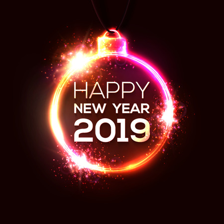 2019 happy New Year background. Neon sign shaped as Christmas decoration. New Year technology electric design. Party invitation celebrating card flyer banner. Holiday illuminated vector illustration.