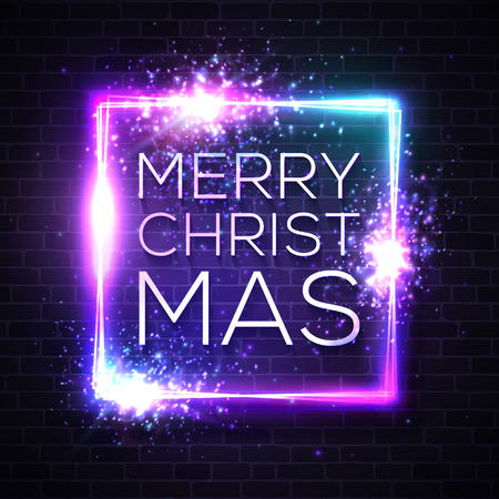 Christmas neon sign. Light vector illustration on winter holidays with star explosion firework. Luminous square frame for Christmas project greeting card poster banner flyer. Neon rectangle signboard.