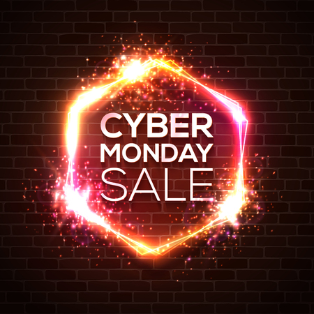 Neon sign of Cyber Monday text for decoration and covering on red brick wall background. Discount card concept of sale event. Realistic vector illustration with light explosion star firework bokeh.
