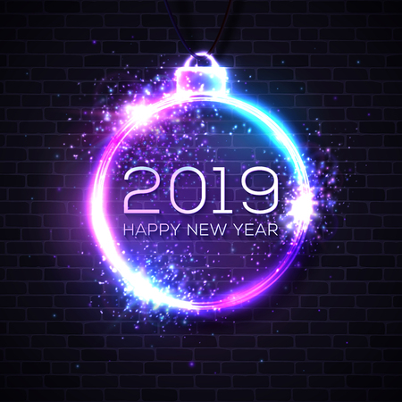 2019 Happy New Year neon sign on brick wall dark background. Festive lights Christmas decoration. Glowing bauble frame with light explosion firework particles sparkles. Decorative vector illustration. Reklamní fotografie - 126814978