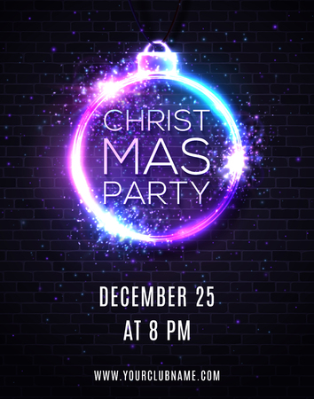 Christmas party night background with lights fireworks sparkle. Xmas decoration shape neon sign. Techno festive ball or bauble. Invitation poster flyer design template on brick wall. 80s style vector. Ilustrace