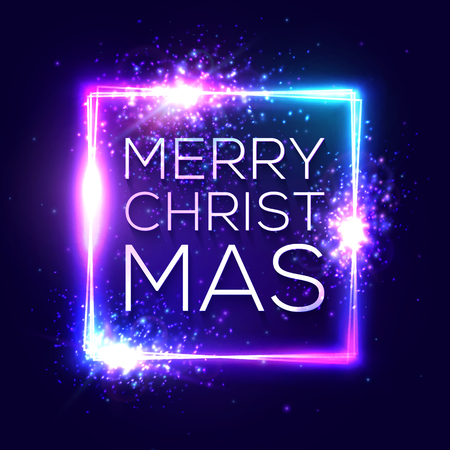 Merry Christmas text on blue neon lights frame. Decorative background with sparkles fireworks particles. Festive greeting card with square glowing. Xmas vector illustration in 80s retro style.