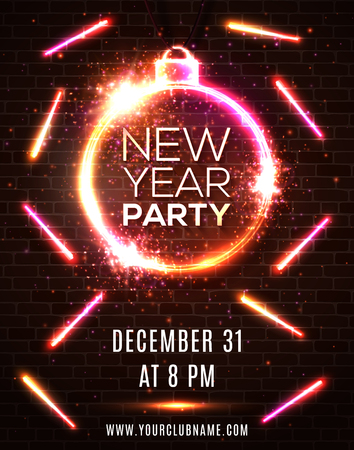 New Year party celebration poster template. Xmas decoration round neon frame shaped as ball or bauble on shiny colorful red brick wall background. Bright vector holiday premium invitation flyer banner Ilustrace