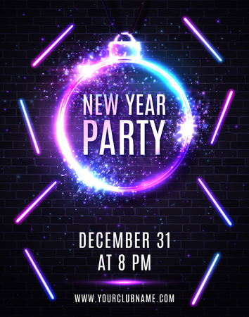 New Years eve party poster. Christmas decoration shaped frame. Circle sparkle silver sign with neon text design. New Year light flyer with multicolored led light lines. Decorative vector illustration. Ilustrace