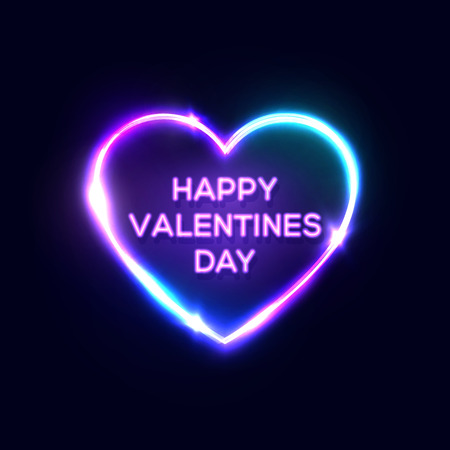 Happy Valentines Day text in heart shaped neon sign. Bright greeting card design on dark blue night background. Decorative electric led light lamp banner. Color vector illustration in retro 80s style. Ilustrace