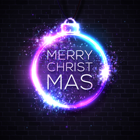 Christmas lights background. Xmas neon letters in decoration sign. Abstract vector background. Reklamní fotografie - 126548205